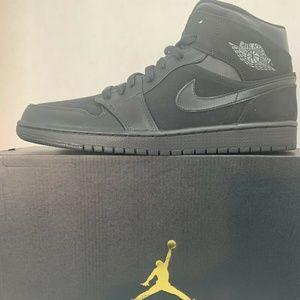 Air Jordan 1 Mid Black/Dark Grey-Black Noir/Noir/G